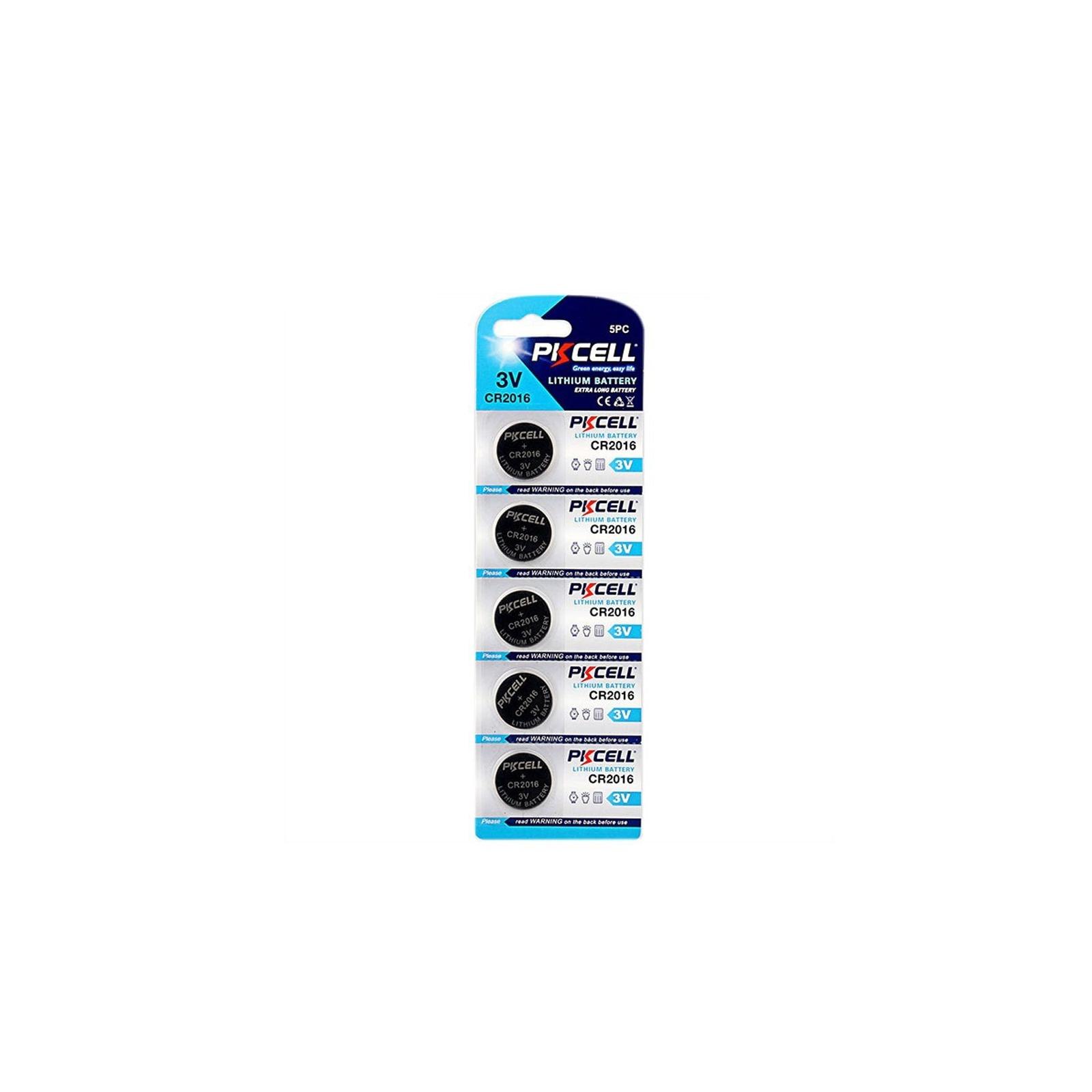 5 Piles Bouton CR2016 3V 75mAh Lithium PKCell