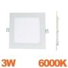 Spot Encastrable LED Carre Downlight Panel Extra-Plat 3W Blanc Froid 6000K