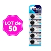 Lot de 50 Piles Bouton CR2016 3V 75mAh Lithium PKCell