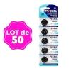 Lot de 50 Piles Bouton CR2025 3V 150mAh Lithium PKCell