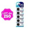 Lot de 250 Piles Bouton CR2025 3V 150mAh Lithium PKCell