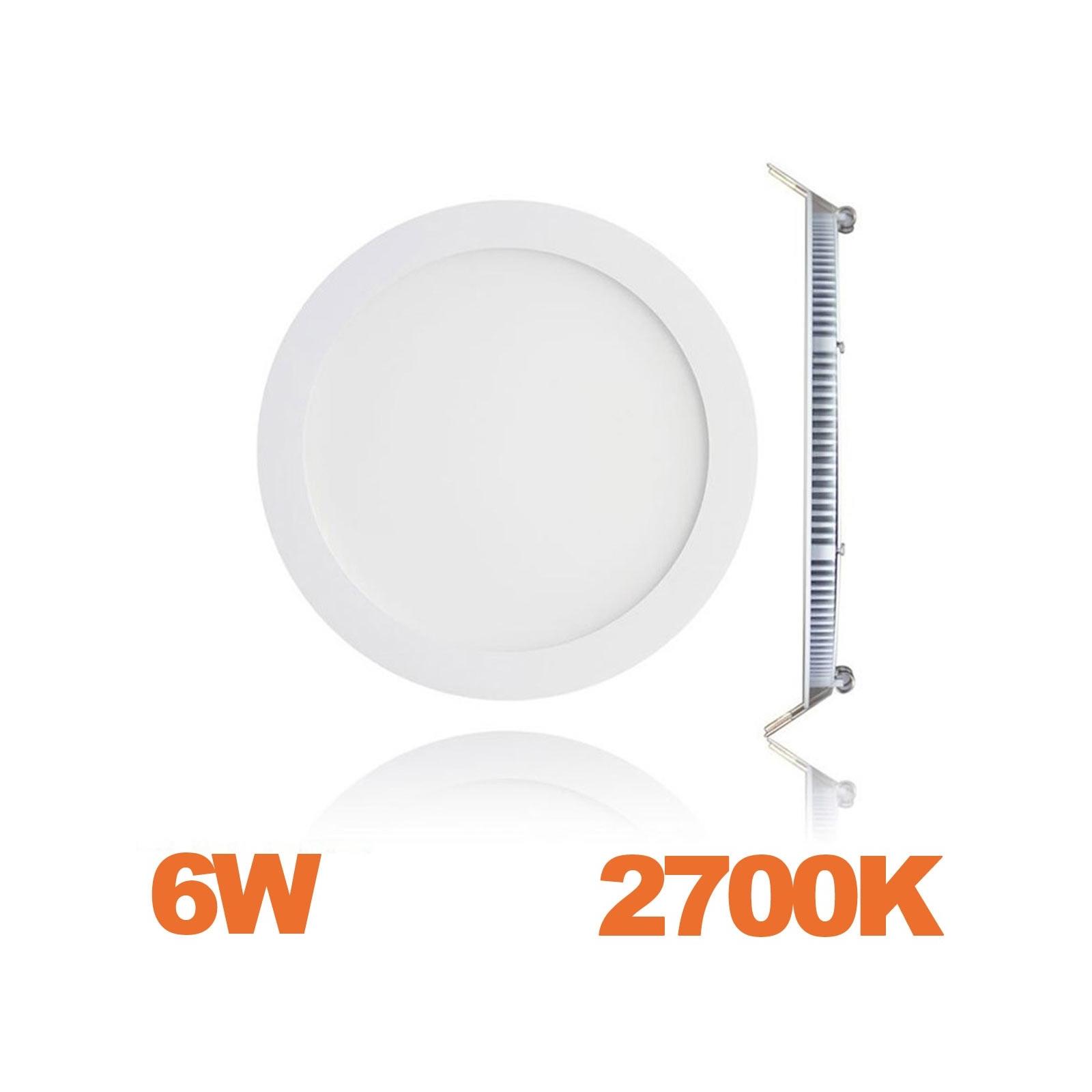 Spot Encastrable LED Downlight Panel Extra-Plat 6W Blanc Chaud 2700K