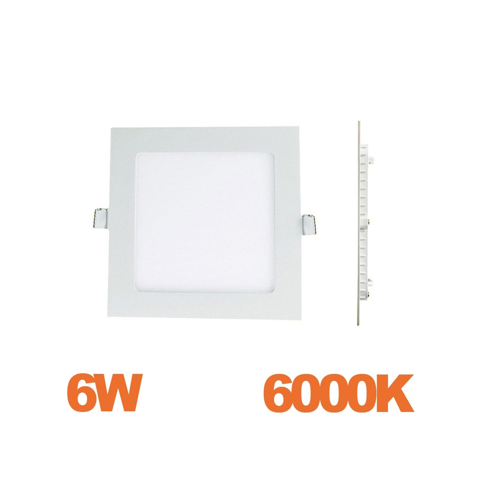Spot Encastrable LED Carre Downlight Panel Extra-Plat 6W Blanc Froid 6000K
