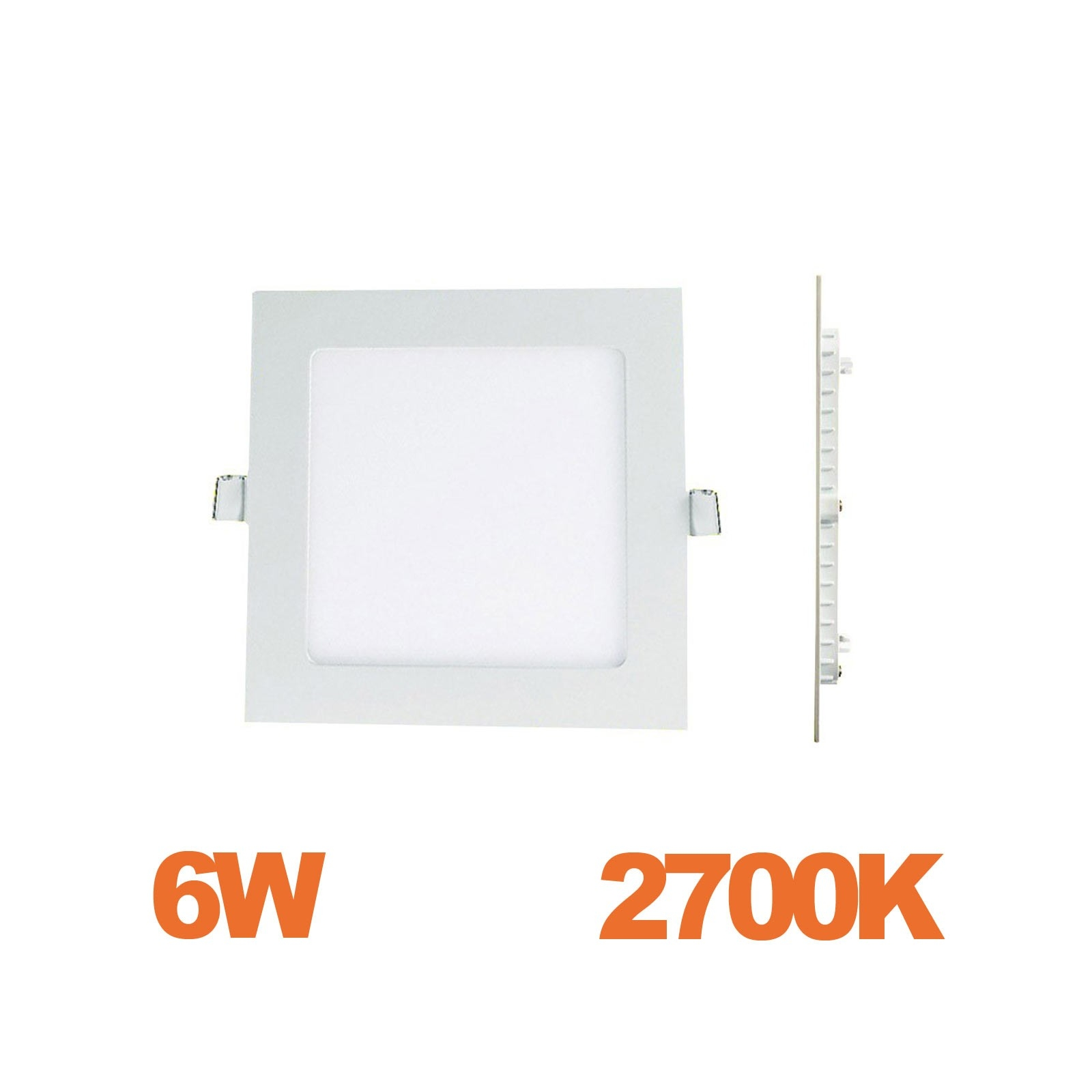 Spot Encastrable LED Carre Downlight Panel Extra-Plat 6W Blanc Chaud 2700k
