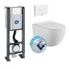 Pack Complet WC Sans Bride Bati Autoportant + Cuvette + Plaque Blanche modele DESIGN