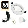 Lot de 50 Spots encastrable orientable BLANC avec GU10 LED de 5W eqv. 40W