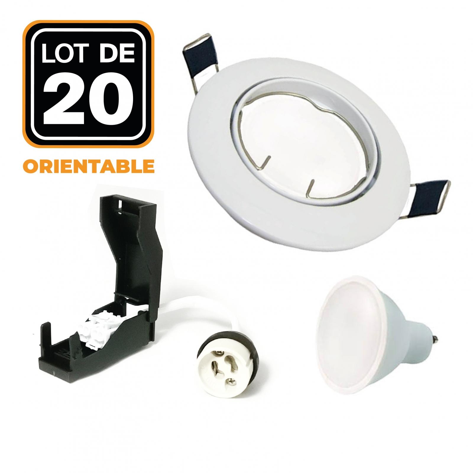 Lot de 20 Spots encastrable orientable BLANC avec GU10 LED de 5W eqv. 40W
