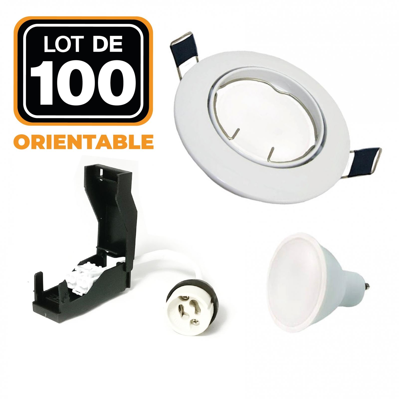 Lot de 100 Spots encastrable orientable BLANC avec GU10 LED de 7W eqv. 56W