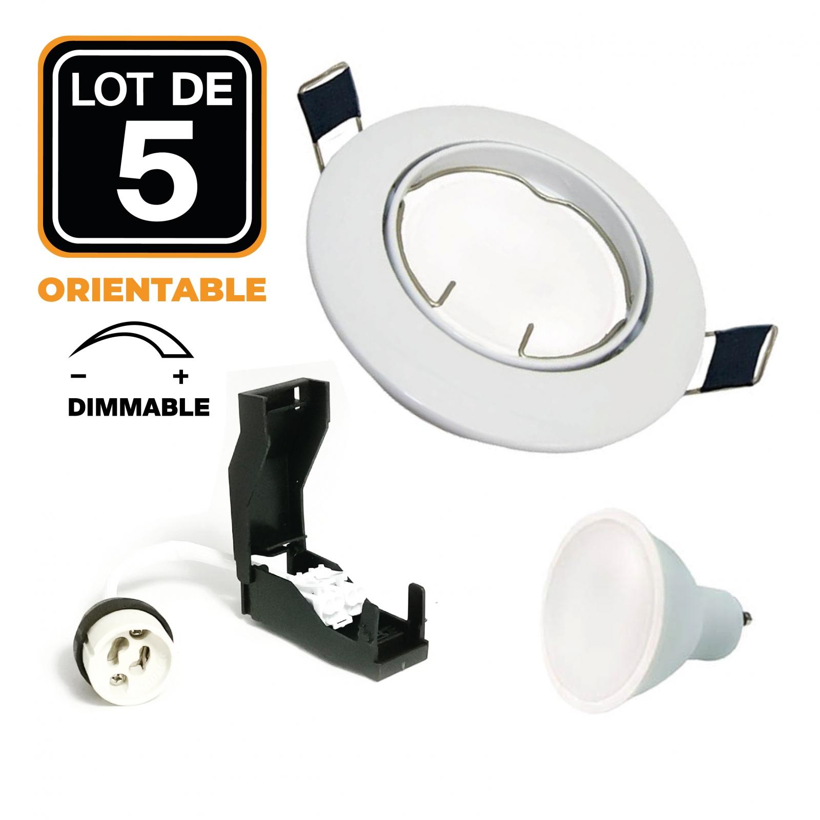 Lot de 5 Spot encastrable orientable BLANC avec GU10 LED de 6W Dimmable