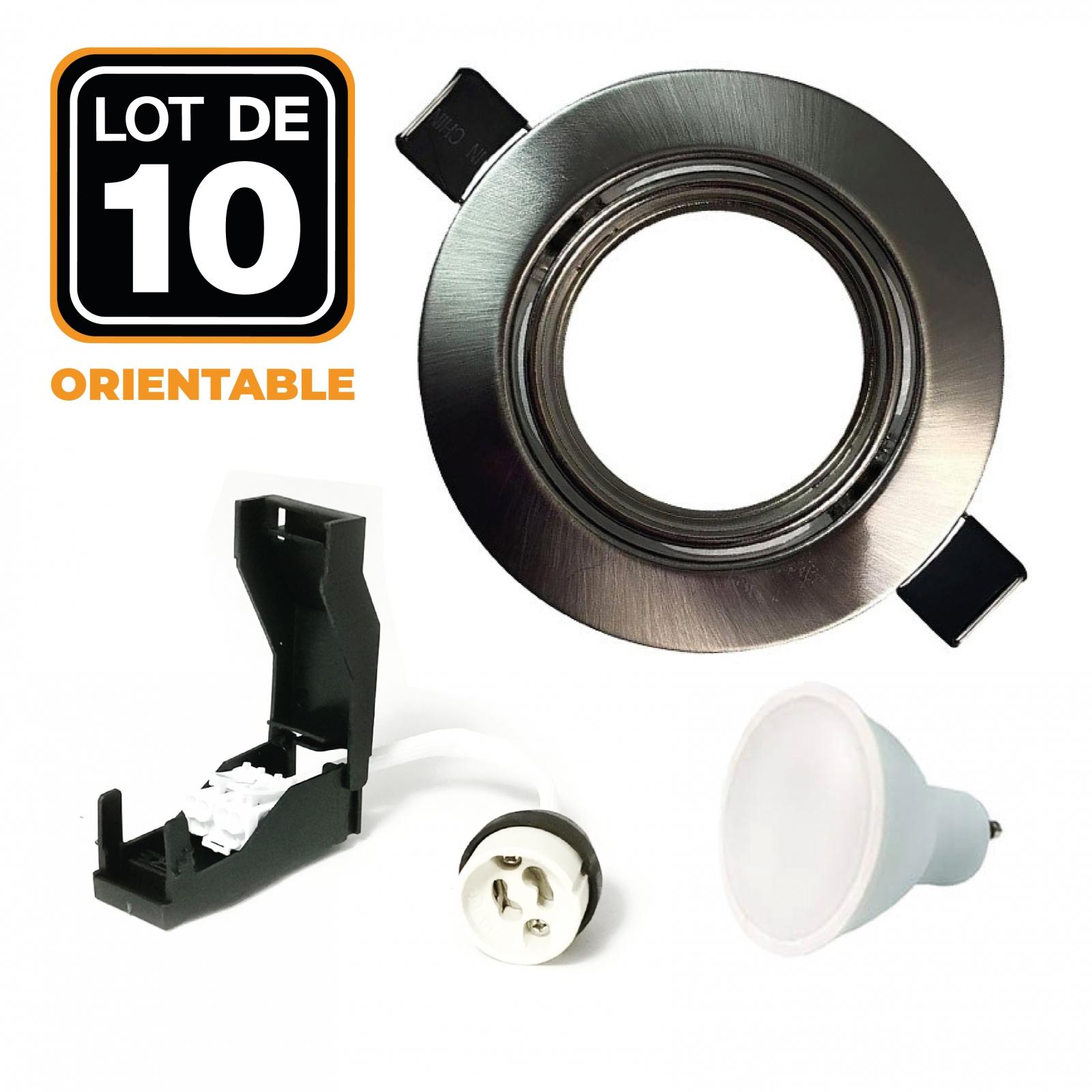 Lot de 10 Spots encastrable orientable ALU BROSSE avec GU10 LED de 5W eqv. 40W