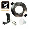 Lot de 5 Spots encastrable orientable ALU BROSSE avec GU10 LED de 7W eqv. 56W