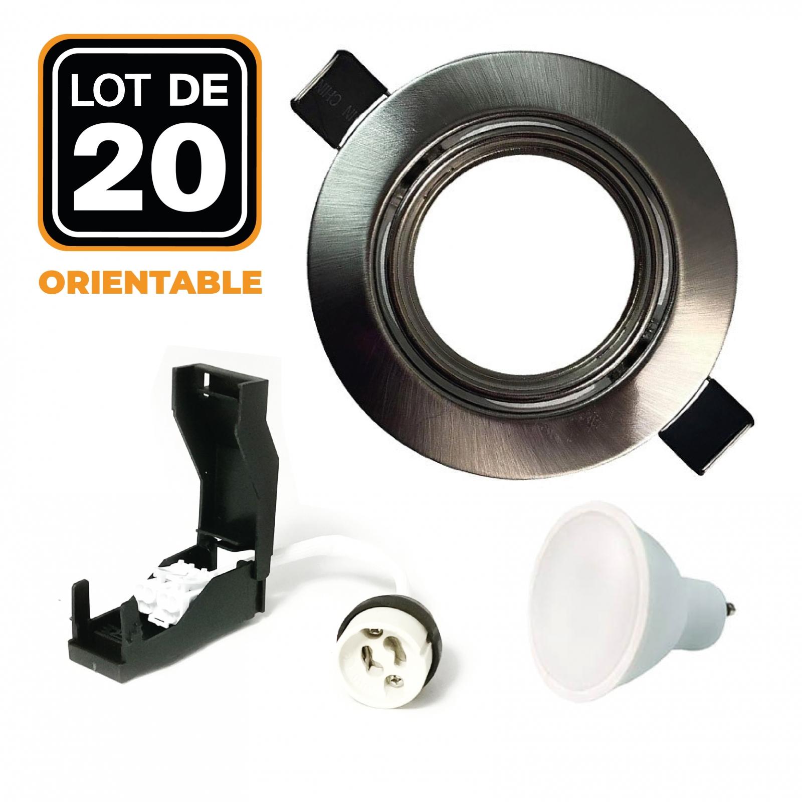 Lot de 20 Spots encastrable orientable ALU BROSSÉ avec GU10 LED de 7W eqv. 56W
