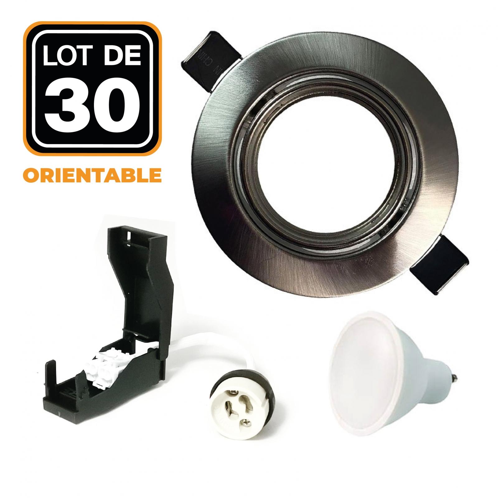 Lot de 30 Spots encastrable orientable ALU BROSSÉ avec GU10 LED de 7W eqv. 56W