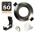 Lot de 50 Spots encastrable orientable ALU BROSSE avec GU10 LED de 7W eqv. 56W