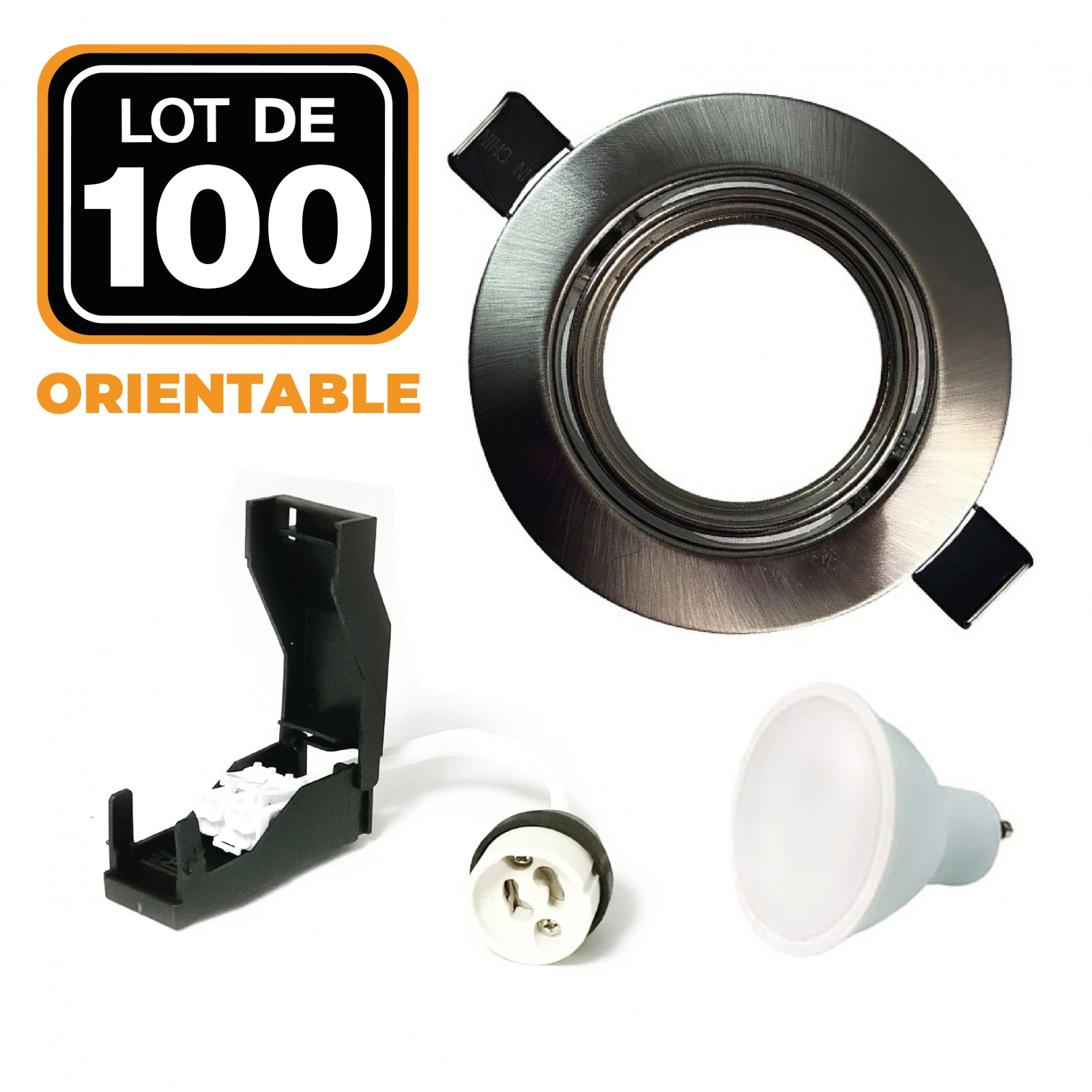 Lot de 100 Spots encastrable orientable ALU BROSSE avec GU10 LED de 7W eqv. 56W