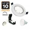 Lot de 10 Spots encastrable orientable BLANC avec GU10 6W Dimmable