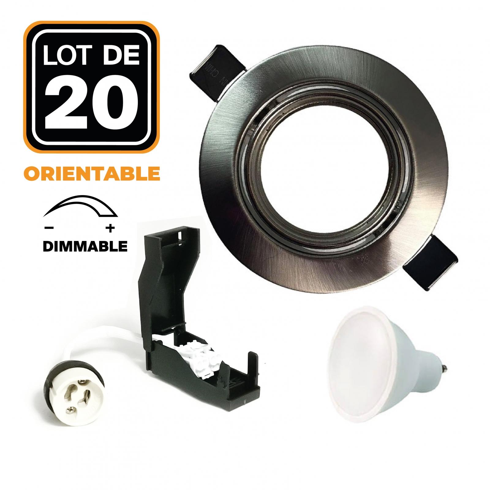 Lot de 20 Spots encastrable orientable ALU BROSSE avec GU10 7W Dimmable