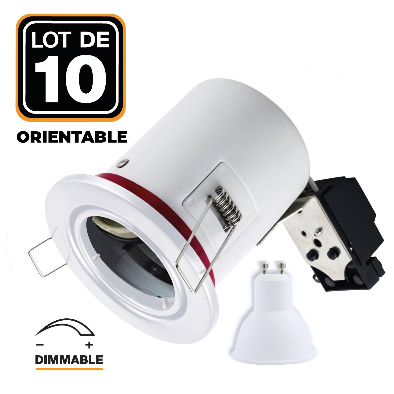 Lot 10 Spots BBC Blanc + Ampoule GU10 7W Dimmable Blanc Chaud + Douille