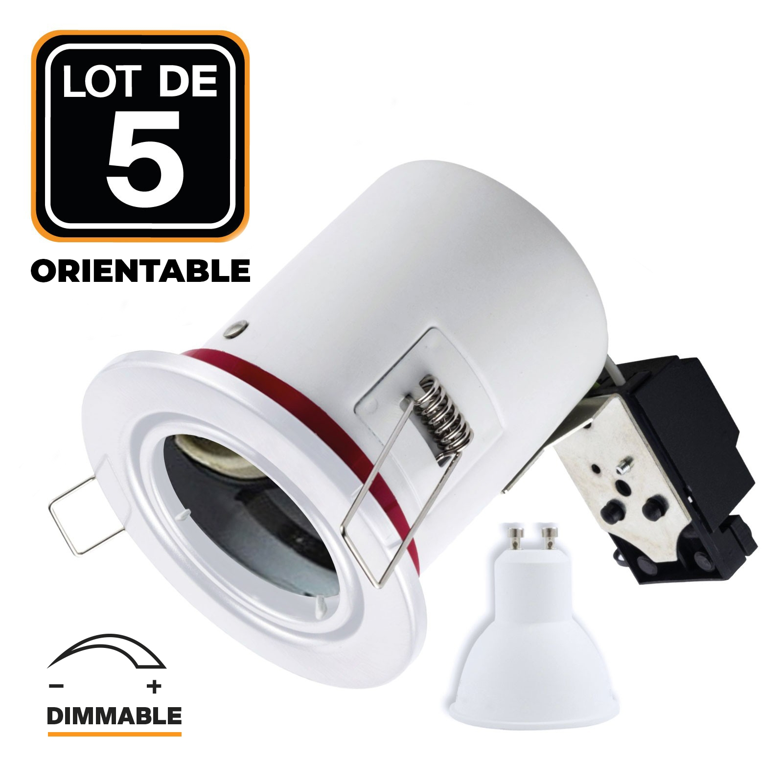 Lot 5 Spots BBC Blanc + Ampoule GU10 7W Dimmable Blanc Chaud + Douille