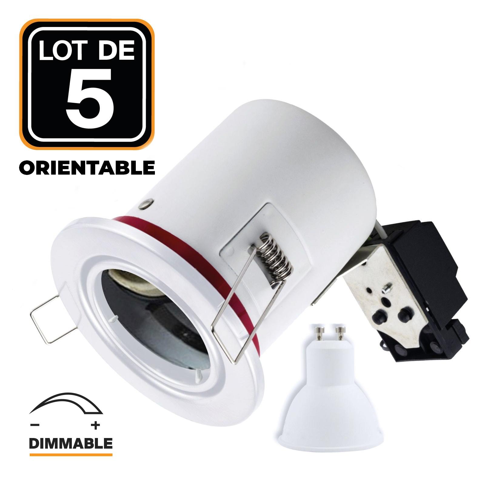 Lot 5 Spots BBC Blanc + Ampoule GU10 7W Dimmable Blanc Neutre + Douille