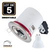 Lot 5 Supports Spots BBC INOX + Ampoule GU10 7W Dimmable Blanc Froid + Douille