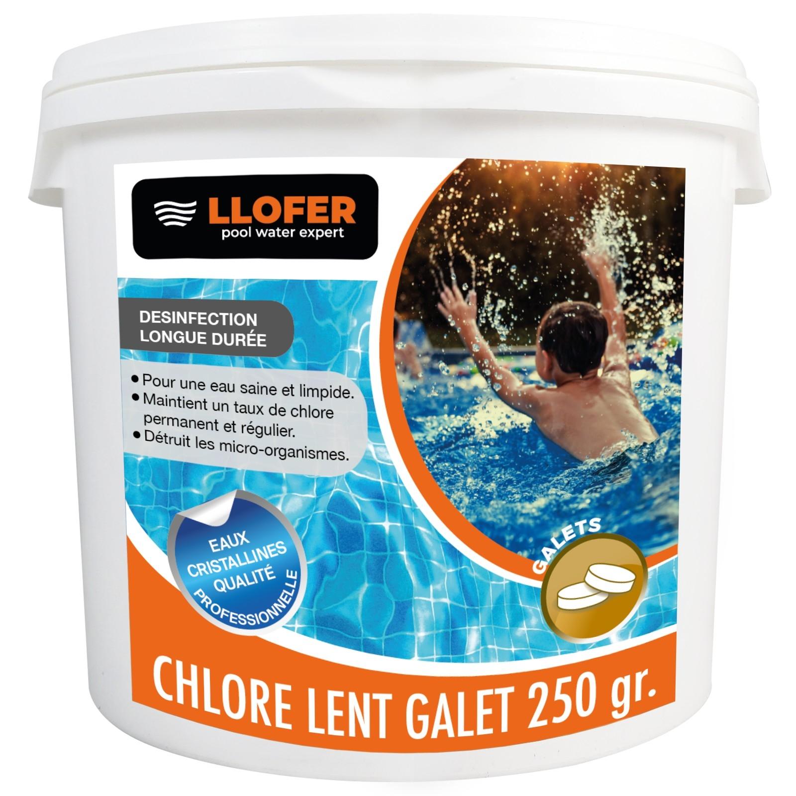 5KG CHLORE LENT GALETS DE 250GR