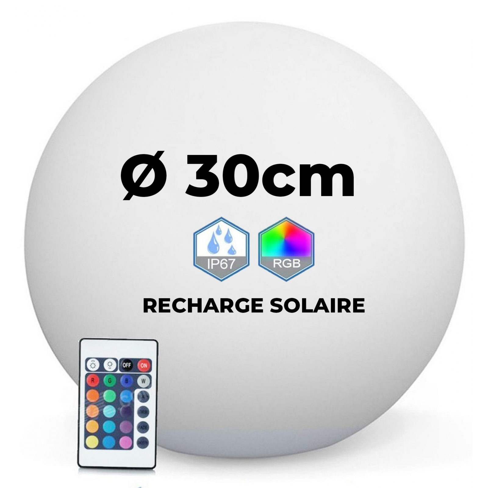 Boule LED Lumineuse Solaire Multicolore 30CM