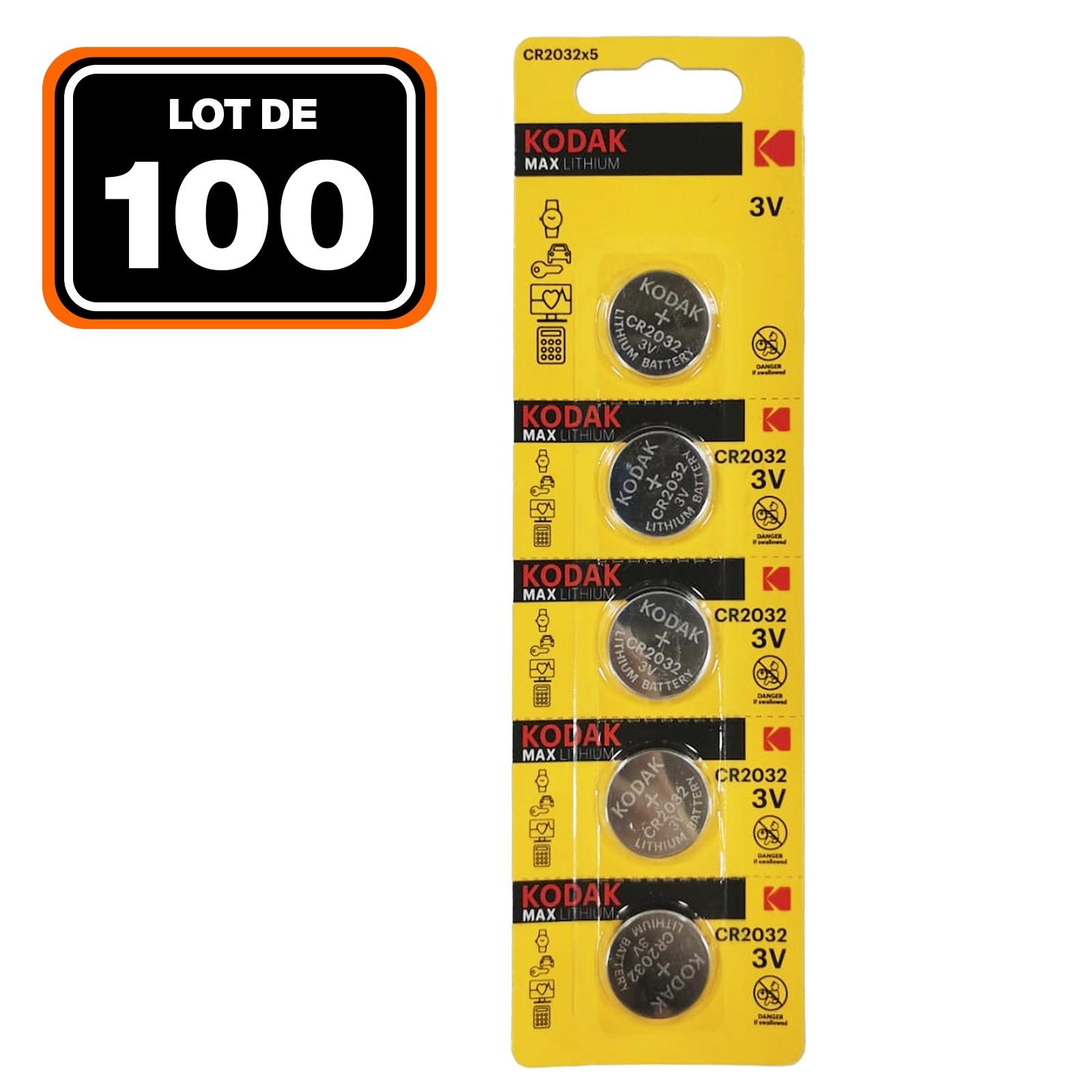 Lot de 100 Piles Bouton CR2032 3V 210mAh Lithium KODAK