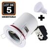 Lot 5 Spots BBC Blanc + Ampoule GU10 7W Blanc Chaud + Douille