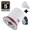 Lot 5 Supports Spots BBC INOX + Ampoule GU10 5W Blanc Chaud + Douille