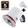 Lot 5 Supports Spots BBC INOX + Ampoule GU10 7W Blanc Chaud + Douille