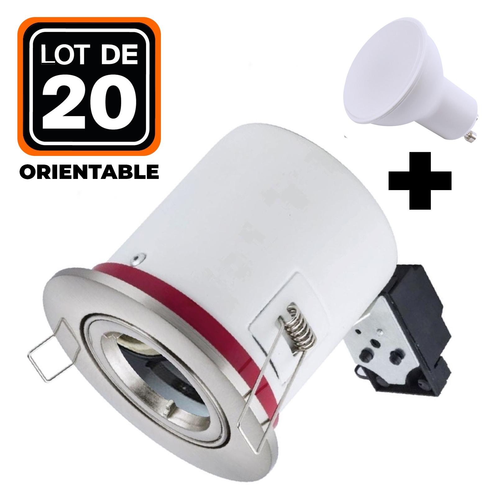 Lot 20 Supports Spots BBC INOX + Ampoule GU10 7W Blanc Chaud + Douille